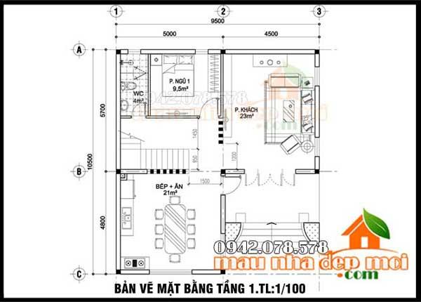 thiết kế biệt thự tân cổ điển 3 tầng 90m2