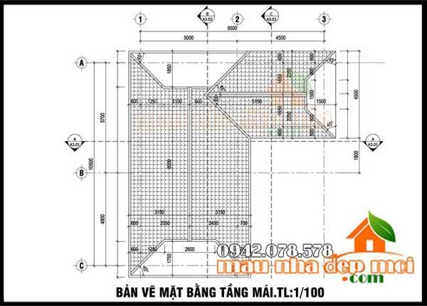bản vẽ mặt bằng biệt thự tân cổ điển 3 tầng 90m2